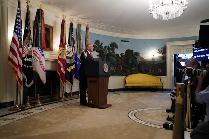 U.S. President Donald Trump makes a statement at the White House following reports that U.S. forces attacked Islamic State leader Abu Bakr al-Baghdadi in northern Syria. (Photo: Joshua Roberts/Reuters)