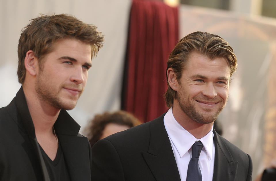 Actor Chris Hemsworth, right, and his brother, actor Liam Hemsworth