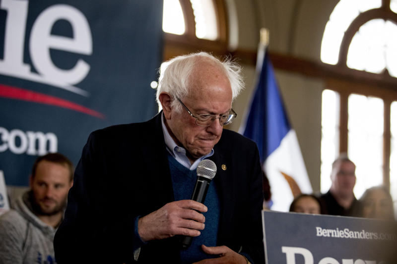 Democratic presidential candidate Sen. Bernie Sanders, I-Vt., pauses while speaking at a campaign stop at La Poste, Sunday, Jan. 26, 2020, in Perry, Iowa. (AP Photo/Andrew Harnik)