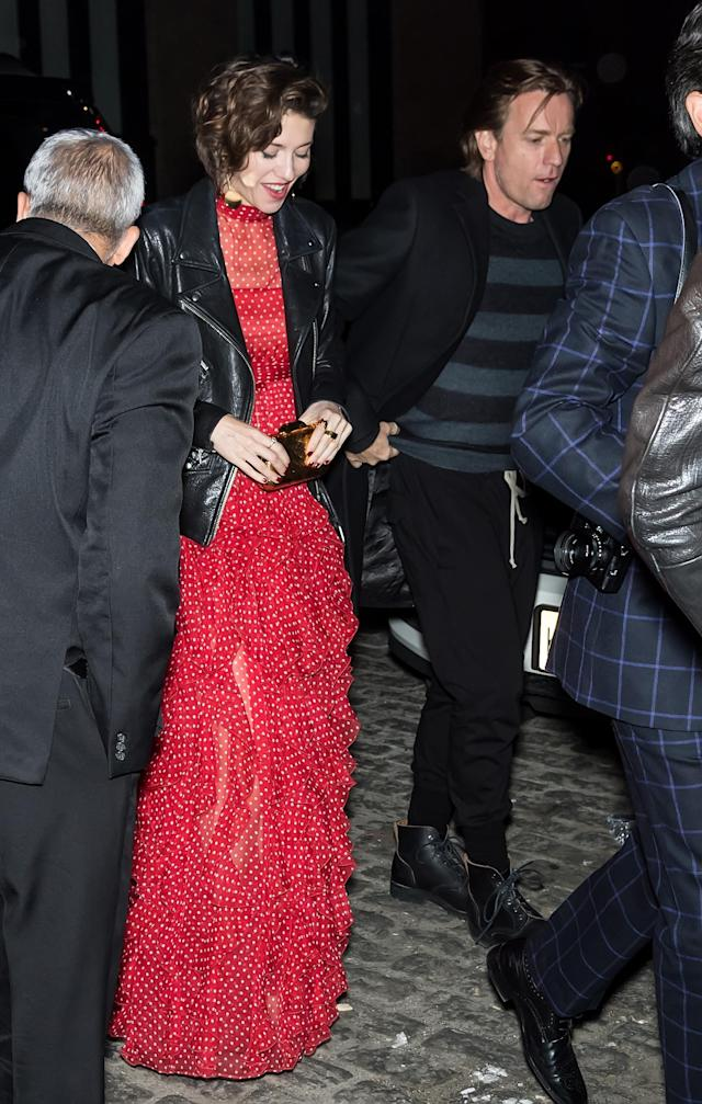 Ewan McGregor and Mary Elizabeth Winstead head to the after-party for her film <em>All About Nina</em>during the Tribeca Film Festival on April 22, 2018. (Photo: Gilbert Carrasquillo/GC Images)