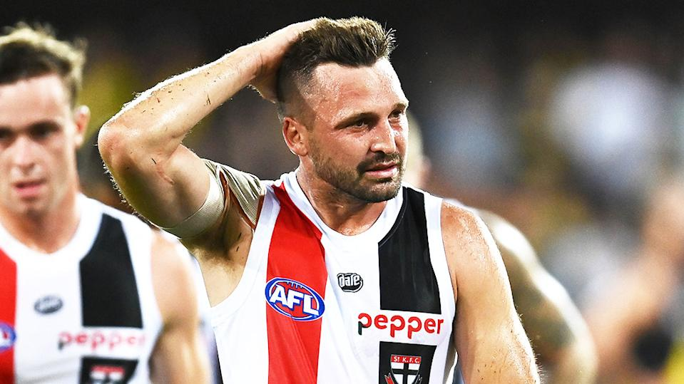 St Kilda captain Jarryn Geary (pictured) frustrated after losing a match.