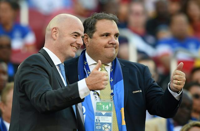 FIFA president Gianni Infantino (left) and CONCACAF president Victor Montagliani at the 2017 Gold Cup final. (Getty)