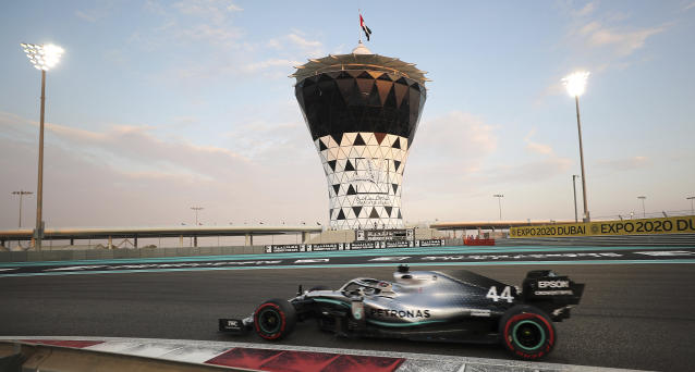 Mercedes driver Lewis Hamilton of Britain steers his car during the qualifying session at the Yas Marina racetrack in Abu Dhabi, United Arab Emirates, Saturday, Nov. 30, 2019. The Emirates Formula One Grand Prix will take place on Sunday. (AP Photo/Kamran Jebreili)