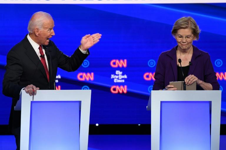 As she solidifies her status as a frontrunner, Senator Elizabeth Warren faced a pile-on in the fourth Democratic presidential debate of the 2020 cycle by rivals including former vice president Joe Biden (AFP Photo/SAUL LOEB)