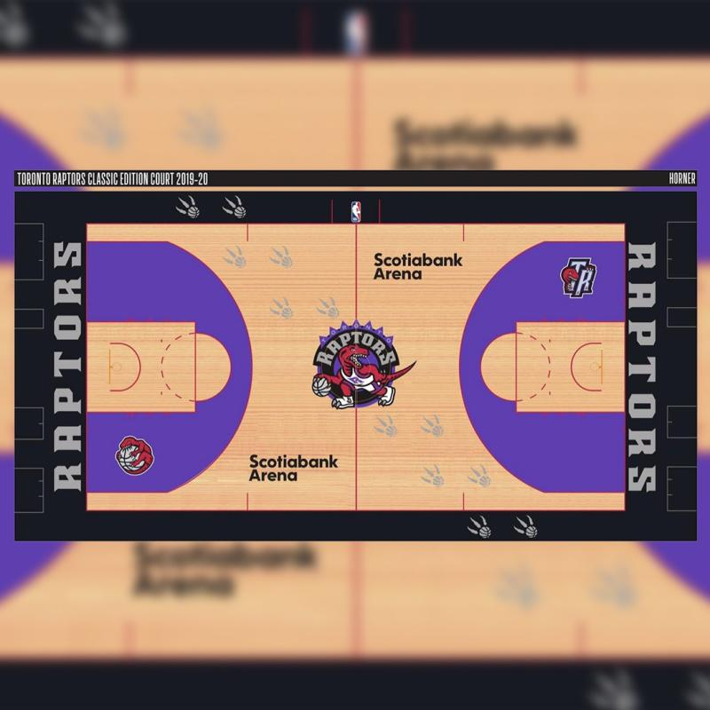 The Toronto Raptors could be using a throwback design for one of their courts in 2019-20. (Yahoo Sports Canada via NBA Reddit)