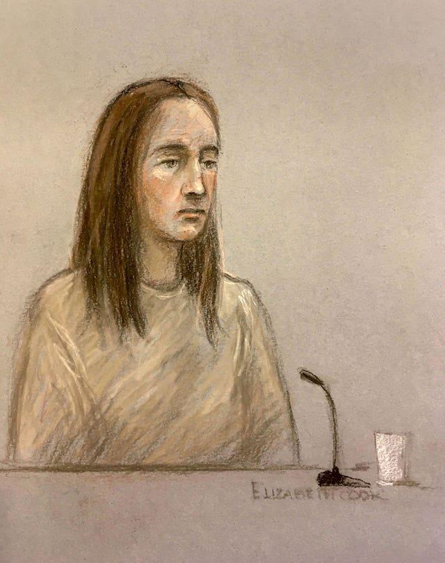 Court artist sketch of Lucy Letby