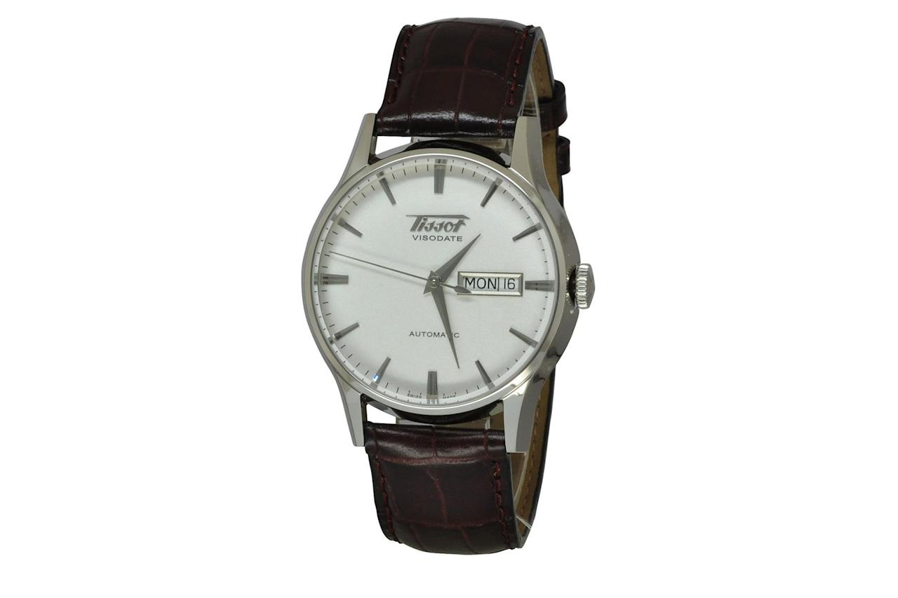 """$439, Amazon. <a href=""""https://www.amazon.com/Tissot-TIST0194301603101-Heritage-Stainless-Automatic/dp/B0041Q44T2/ref=sr_1_18?fst=as%3Aoff&qid=1571076370&refinements=p_36%3A-50000%2Cp_89%3ATissot&rnid=2528832011&s=apparel&sr=1-18"""">Get it now!</a>"""