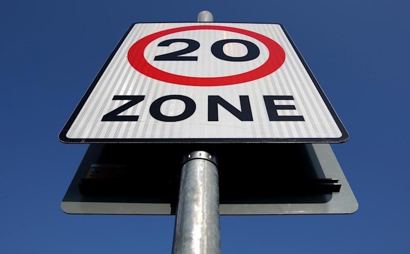 A file image of a 20mph speed limit sign: Dominic Lipinski/PA