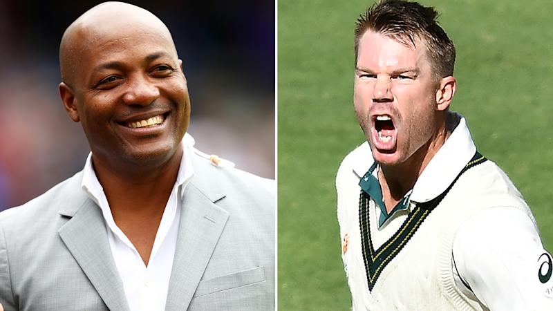 West Indian cricket legend Brian Lara, pictured left, says David Warner, pictured right, should have had the chance to break his record Test innings.