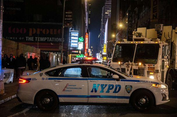 PHOTO: An NYPD police vehicle blocks the street during the virtual New Year's Eve event following the outbreak of the coronavirus disease in the Manhattan borough of New York, Dec. 31, 2020. (Jeenah Moon/Reuters, FILE)