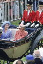 <p>Princess Diana sits beside the Queen mother at Ascot wearing a look by Jan Van Velden. <em>[Photo: Getty]</em> </p>