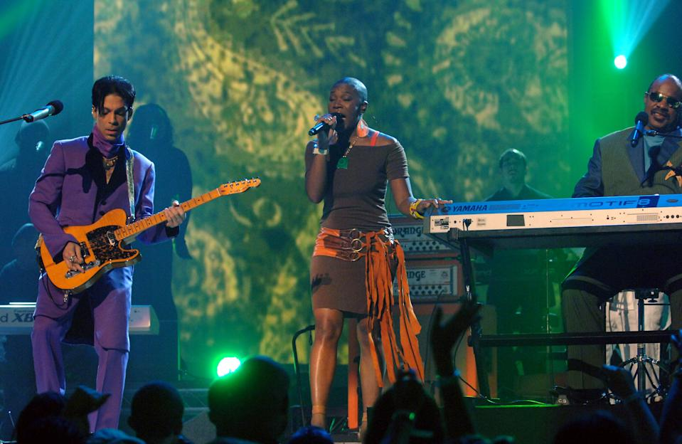 "Prince, India.Arie and Stevie Wonder perform ""I'm Every Woman"" (Photo by M. Caulfield/WireImage)"