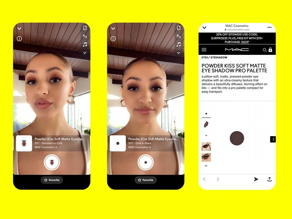 Snapchat's new dynamic AR lenses allow users to 'try on' MAC makeup products and buy them through the app (Snap)