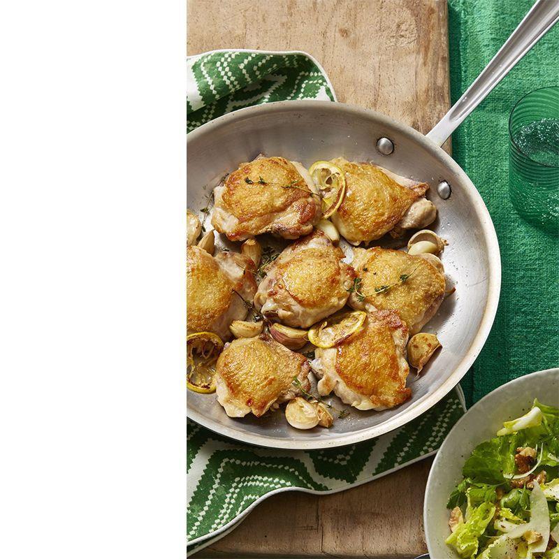 """<p>Ready to show off your cooking skills? Up the ante by butterflying crispy lemon coated chicken thighs, and pair with a savory parm salad.</p><p><em><a href=""""https://www.womansday.com/food-recipes/food-drinks/recipes/a60708/crispy-chicken-thighs-with-escarole-and-parmesan-salad-recipe/"""" rel=""""nofollow noopener"""" target=""""_blank"""" data-ylk=""""slk:Get the recipe for Crispy Chicken Thighs with Escarole and Parmesan Salad."""" class=""""link rapid-noclick-resp"""">Get the recipe for Crispy Chicken Thighs with Escarole and Parmesan Salad. </a></em></p>"""
