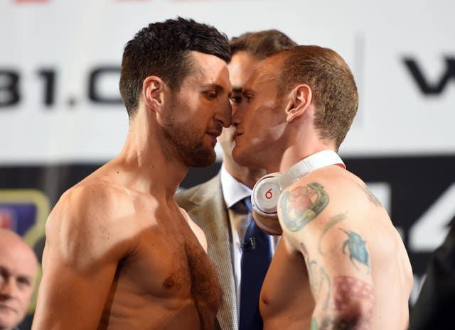 Froch, left, and Groves during the official weigh in at Wembley