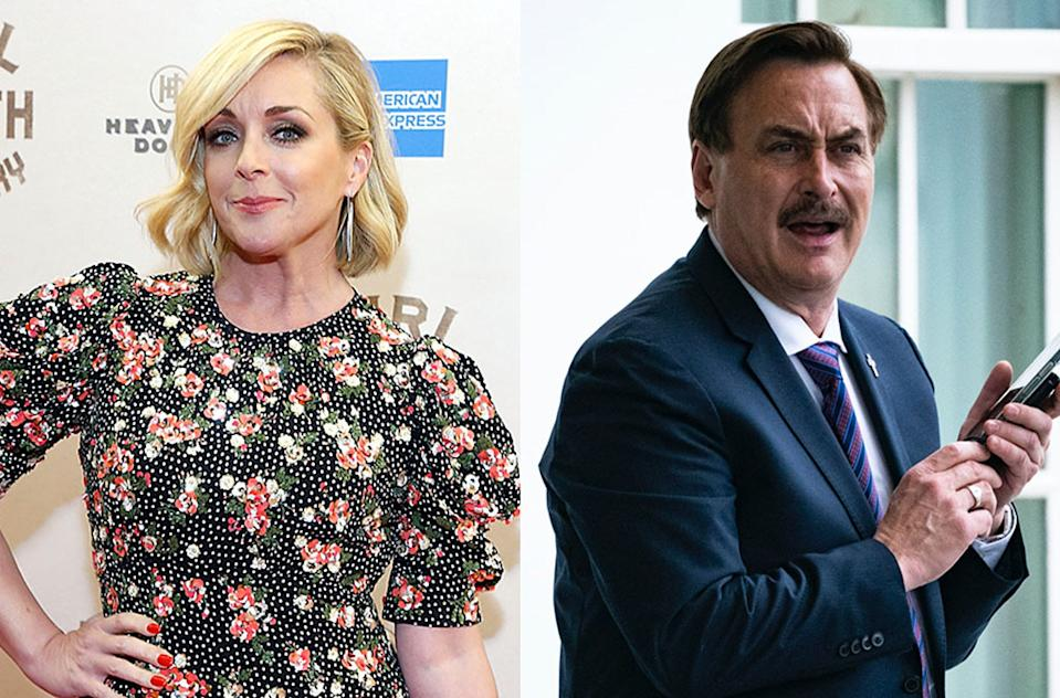 Jane Krakowski keeps her sense of humor amid a report she had a secret romance with MyPillow CEO Mike Lindell. (Photos: Getty Images)