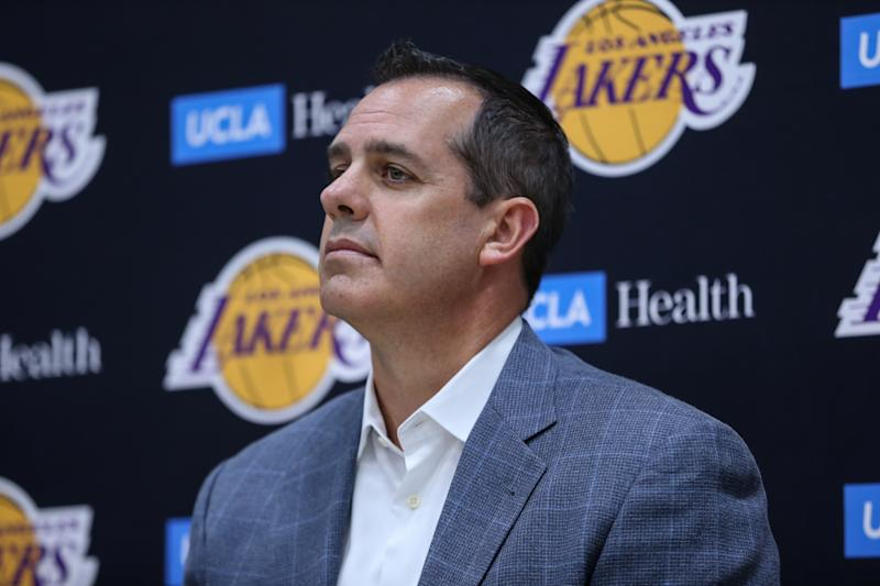 EL SEGUNDO, CA - JULY 13: Coach Frank Vogel during the presentation as new player of Los Angeles Lakers on July 13, 2019, at UCLA Health Training Center in El Segundo, CA.(Photo by Jevone Moore/Icon Sportswire via Getty Images)