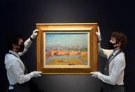 Preparations ahead of livestream auction of Modern British Art at Christie's in London