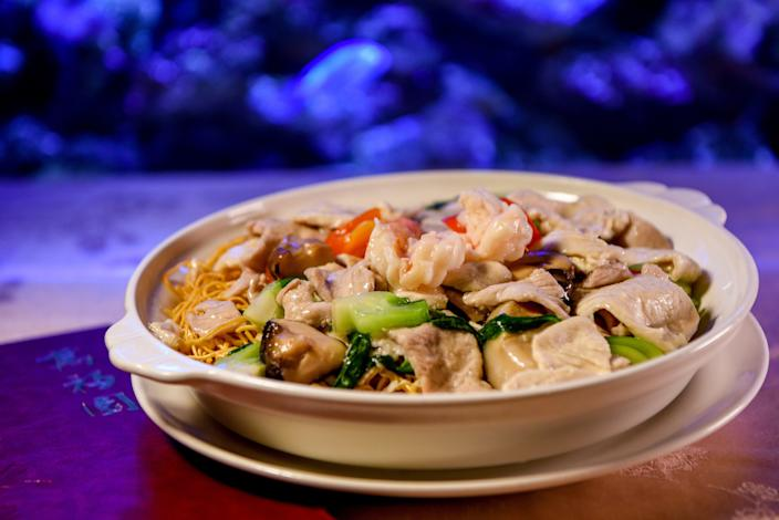Cantonese pan-fried noodles for Chinese New Year at Hunan Taste in Denville  on Friday January 29, 2021.