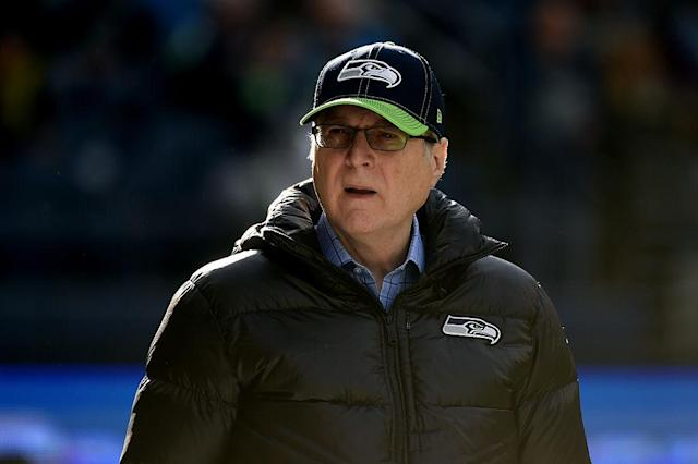 "Paul Allen, <a class=""link rapid-noclick-resp"" href=""/nfl/teams/sea"" data-ylk=""slk:Seahawks"">Seahawks</a> owner. (Getty)"