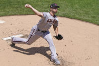 Arizona Diamondbacks starting pitcher Riley Smith delivers during the first inning of a baseball game against the New York Mets, Sunday, May 9, 2021, in New York. (AP Photo/Kathy Willens)