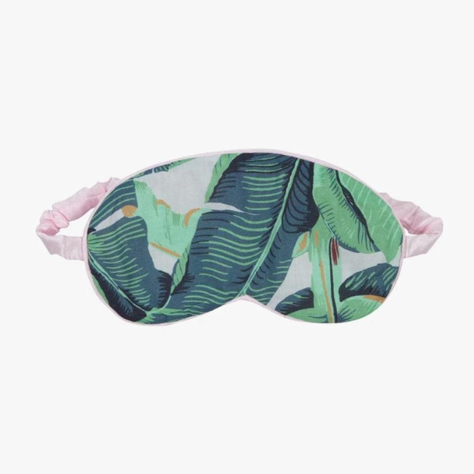 "An accessory that facilitates sleep is the ultimate indulgence. Rest easy in this silk-lined eye mask from Sant and Abel. $39, SANT AND ABEL. <a href=""https://santandabel.com/collections/accessories/products/martinique-banana-leaf-eyemask"" rel=""nofollow noopener"" target=""_blank"" data-ylk=""slk:Get it now!"" class=""link rapid-noclick-resp"">Get it now!</a>"