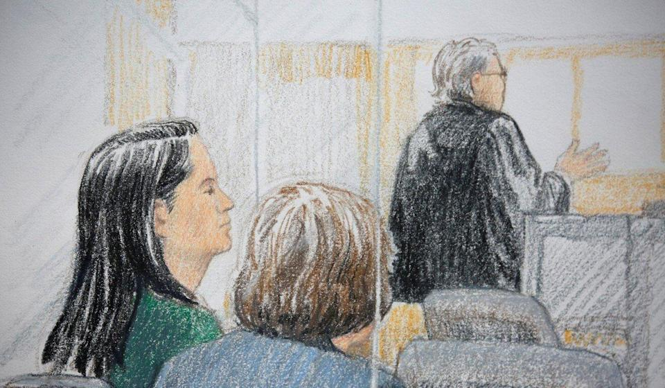 Meng Wanzhou (left) appears at her BC Supreme Court bail hearing on December 7, 2018, in a drawing by artist Jane Wolsak. Graphic: Reuters/Jane Wolsak
