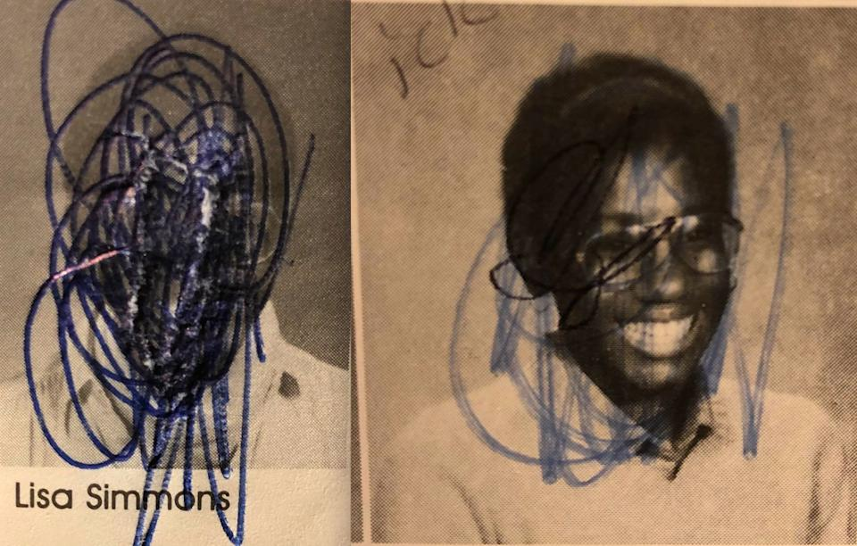 I came across these as I looked for photos to illustrate this essay. What a surprise how much I detested them at the time. I remember scribbling, thinking, so ugly. I actually ripped the paper with my vehemence on one. (Photo: Photos Courtesy of Lisa Marie Simmons)
