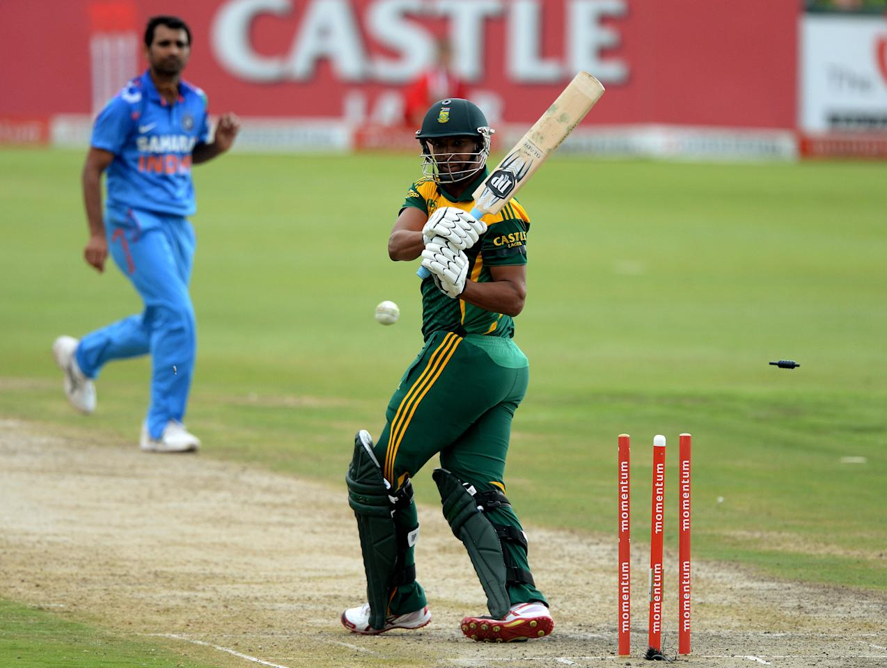 CENTURION, SOUTH AFRICA - DECEMBER 11: Verno Philander of South Africa is bowled out during the 3rd Momentum ODI match between South Africa and India at SuperSport Park on December 11, 2013 in Centurion, South Africa. (Photo by Duif du Toit/Gallo Images/Getty Images)