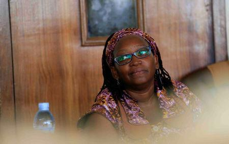 Ugandan prominent academic Stella Nyanzi stands in the dock at Buganda Road Court for criticising the wife of President Yoweri Museveni on social media, in Kampala