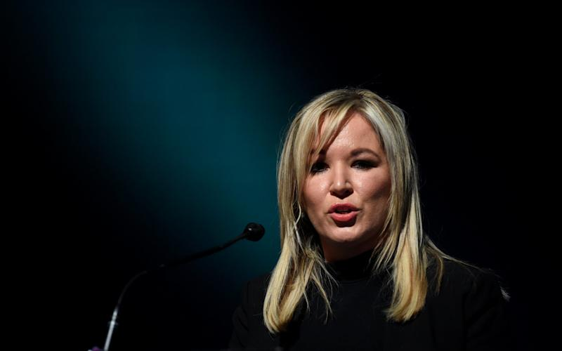 Sinn Fein's Michelle O'Neill speaks at a Sinn Fein conference on Irish Unity in Dublin - Credit: REUTERS