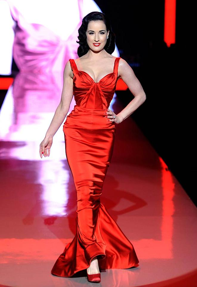 "Burlesque sexpot Dita Von Teese was stunning in a retro Zac Posen frock. Frazer Harrison/<a href=""http://www.gettyimages.com/"" target=""new"">GettyImages.com</a> - February 9, 2011"