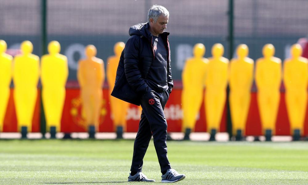 José Mourinho pictured at Manchester United training. The United manager takes his team to Spain, where they have won just twice in 22 matches.