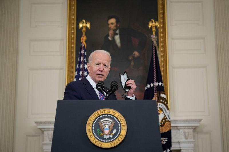 U.S. President Joe Biden speaks about the March jobs report in the State Dining Room of the White House on April 2, 2021 in Washington, DC.