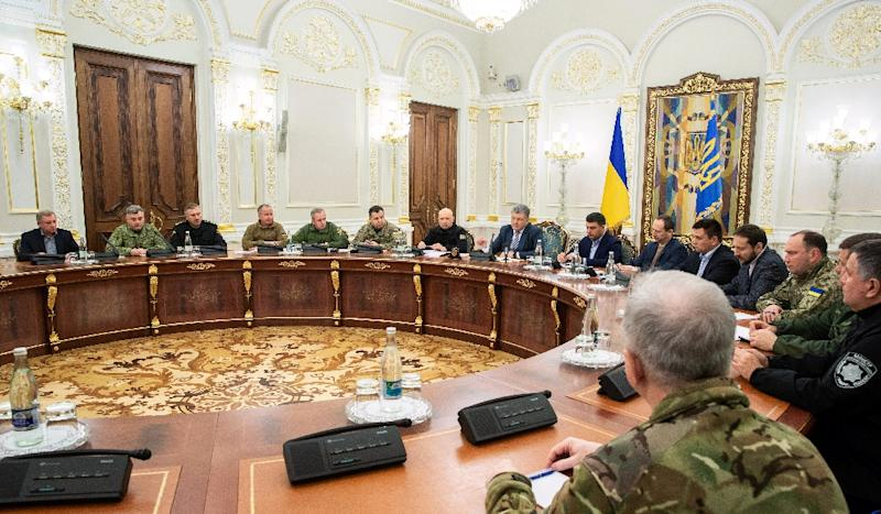 Ukrainian President Petro Poroshenko held a meeting of his military cabinet after the clash with Russia in the Kerch Strait (AFP Photo/Mykhailo MARKIV)