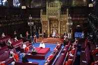 Queen Elizabeth II reads the Queen's Speech on the The Sovereign's Throne in the House of Lords chamber