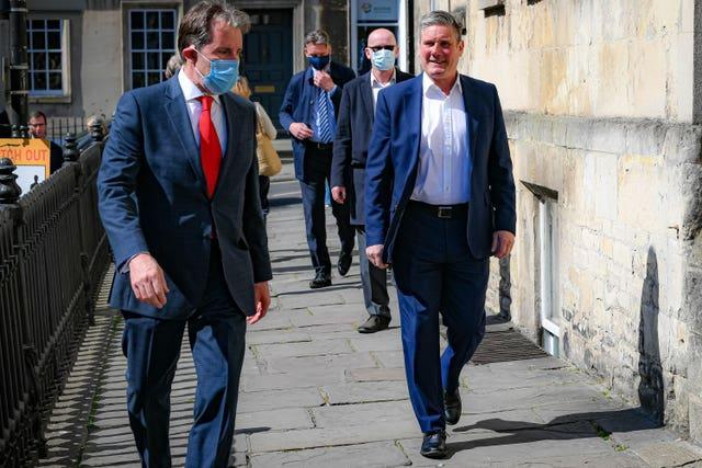 Labour leader Sir Keir Starmer with Dan Norris in Bath during the campaign (Ben Birchall/PA)