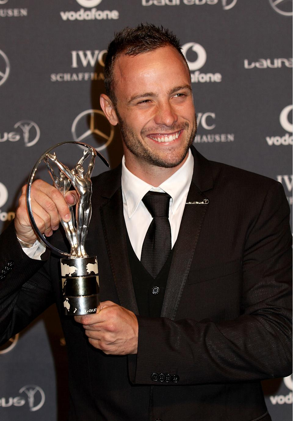 Oscar Pistorius the winner of the Laureus World Sportsperson of the Year with a Disability during 2012 Laureus World Sports Awards, at Central Hall Westminster, Storey's Gate, London.