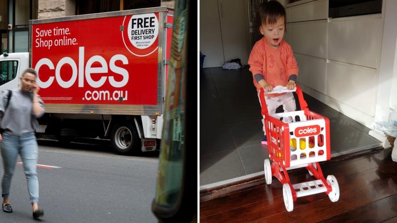 Coles delivery van on the left, a young girl pushing a tory Coles trolley on the right.