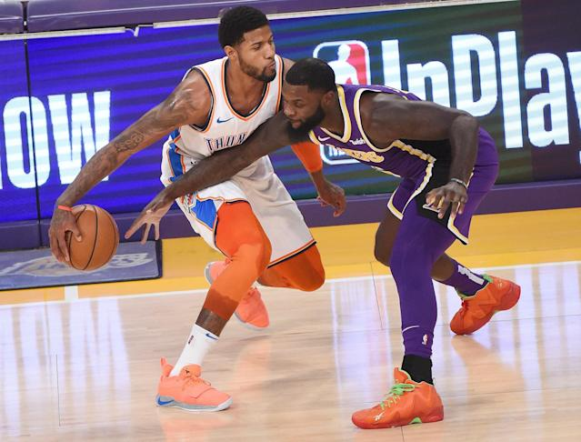 Paul George shut out boos from Lakers fans to lead the Thunder to a win in Los Angeles. (Getty)