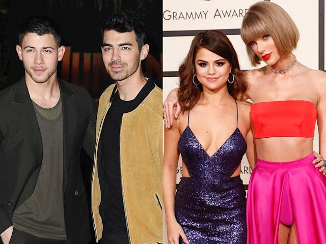 From left, Nick Jonas, Joe Jonas, Selena Gomez, and Taylor Swift. (Photo: Getty Images)