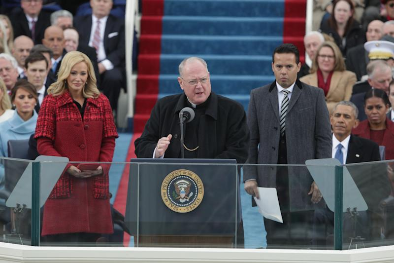Cardinal Timothy Dolan, who delivered remarksat Trump's inauguration, was among those condemning his DACA announcement. (Alex Wong via Getty Images)