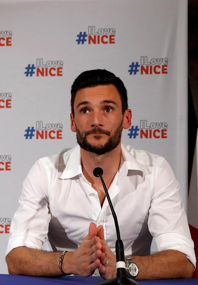 France soccer team goalkeeper Hugo Lloris attends a news conference at the city hall in Nice, after their victory in the 2018 Russia Soccer World Cup, France, July 18, 2018. REUTERS/Eric Gaillard