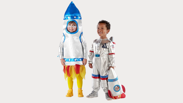 Sibling Halloween costumes: A rocket and an astronaut