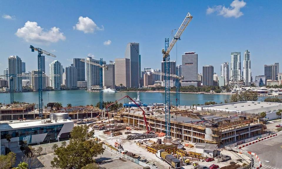 Construction on the Royal Caribbean Cruises headquarters at PortMiami stopped in May 2020 as the coronavirus pandemic continued to shut down businesses.