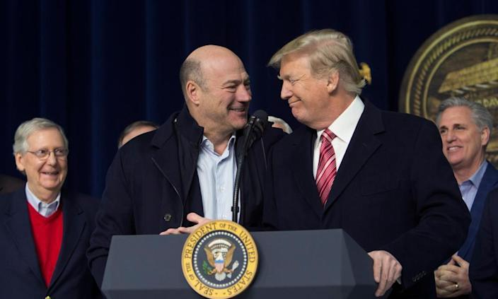 """<span class=""""element-image__caption"""">Donald Trump and Gary Cohn affirm their support for each other, at Camp David in January.</span> <span class=""""element-image__credit"""">Photograph: Pool/Getty Images</span>"""