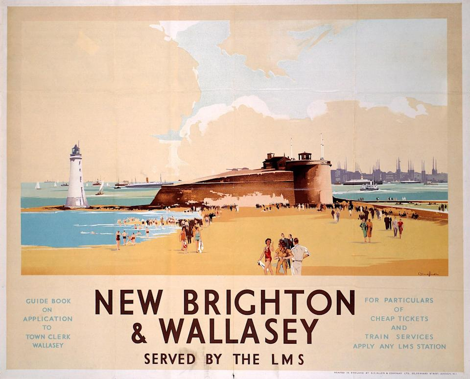 A railway poster advertising trips to New Brighton - Getty