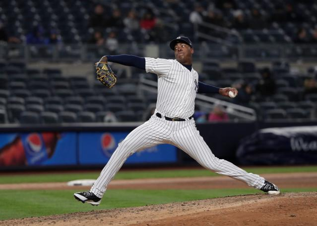 You can bet Jackie Bradley felt this pitch from Aroldis Chapman. (AP Photo)