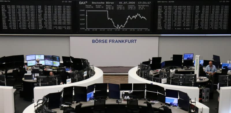 FILE PHOTO: The German share price index DAX graph is pictured at the stock exchange in Frankfurt