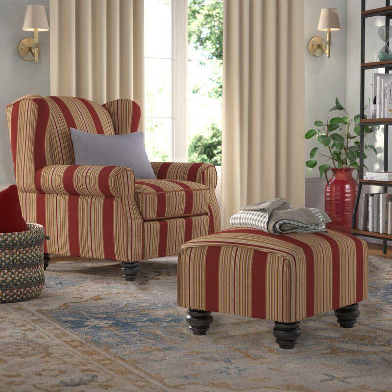 """<p><strong>Darby Home Co</strong></p><p>wayfair.com</p><p><a href=""""https://go.redirectingat.com?id=74968X1596630&url=https%3A%2F%2Fwww.wayfair.com%2Ffurniture%2Fpdp%2Fdarby-home-co-brougham-wingback-chair-and-ottoman-dbhc3209.html&sref=https%3A%2F%2Fwww.countryliving.com%2Fhome-design%2Fg31785674%2Ftop-cozy-chairs%2F"""" rel=""""nofollow noopener"""" target=""""_blank"""" data-ylk=""""slk:CHECK PRICE"""" class=""""link rapid-noclick-resp"""">CHECK PRICE</a></p><p>This gorgeous, striped crimson chair is a perfect piece for your living room. It even comes with an ottoman to make lounging in it even comfier.</p>"""